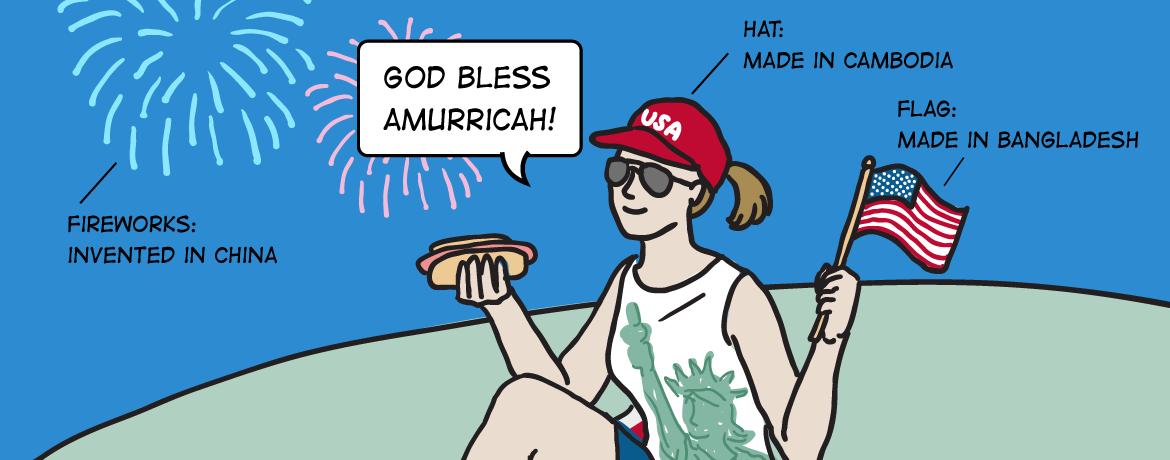 Fourth of July Cartoon Banner